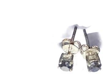Black Diamond Stud Earrings In Sterling Silver 0.75 ctw