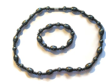 Men's Hematite Beads Necklace With Magnetic Clasp and Stretch Beads Bracelet (20 in) 840.00 ctw.