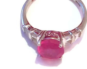 Natural Hot Pink Sapphire & White Topaz Ring in Platinum over Sterling Silver (Size 8) 3.50 ctw
