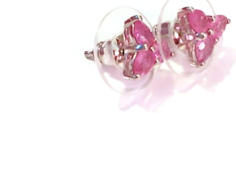 Natural Hot Pink Sapphire 3 Stone Stud Earrings in Platinum over Sterling Silver 1.25 ctw.