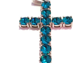 Cross Pendants With Ticket of Authenticity Made With Swarovski Crystal in Platinum Bond Brass 2.85 ctw. (3.16 g) in Various Colors
