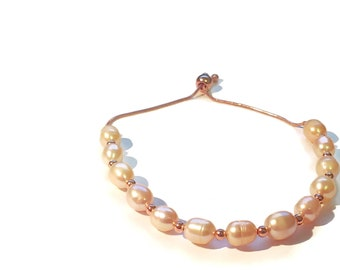Peach Cultured Pearl Bolo Bracelet in 14 RG over Sterling Silver 9.83 ctw.