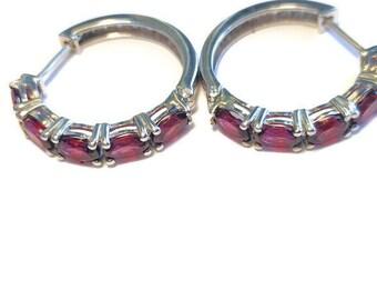 Natural Garnet Hoop Earrings in Platinum over Sterling Silver  5.50 ctw.