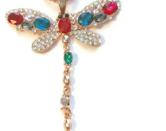 "Simulated Multi-Gemstone, Austrian Crystal Dragonfly Pendant Necklace (28-30"")  in Rosetone"