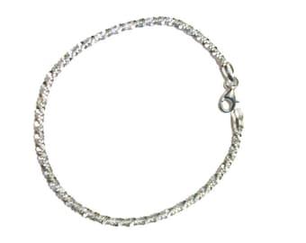 "Italian Sterling Silver Sparkle Bracelet (7.50"") 3.20 g"