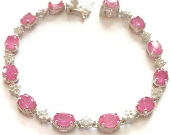 "Natural Hot Pink Sapphire & Zircon Bracelet in Platinum over Sterling Silver (7.25"") (10 g) 15.50 ctw."