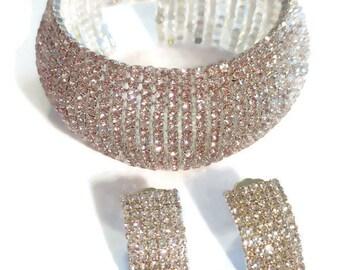 White or Black Austrian Crystal Bracelet (7.75 inch) & Earrings