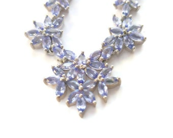 Tanzanite Floral Necklace in Platinum over Sterling Silver (11.25 g) 8.03 ctw  (adjustable 10-20 in)