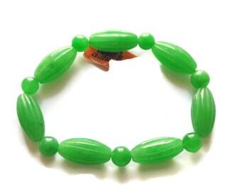 Burmese Green Jade Carved Bead Stretch Bracelet 143.00 ctw.