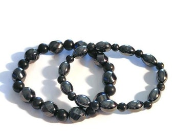 Shungite Magnetic Hematite Beads Stretch Bracelet 50.10 and 115.00 ctw.