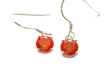 Cubic Zirconia Orange (4.55 ctw) or Pink (4.50 ctw.) Diamond Earrings in Platinum over Sterling Silver