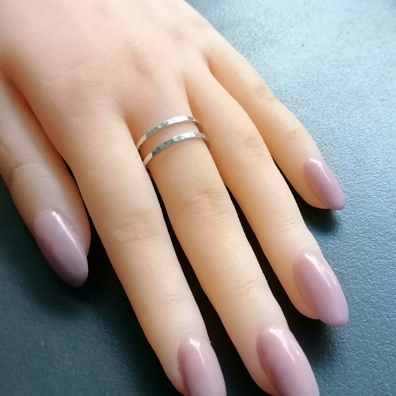 Cage Ring Mothers Ring Silver Gift For Her Two Bars Ring Double Band Ring Adjustable Open Ring