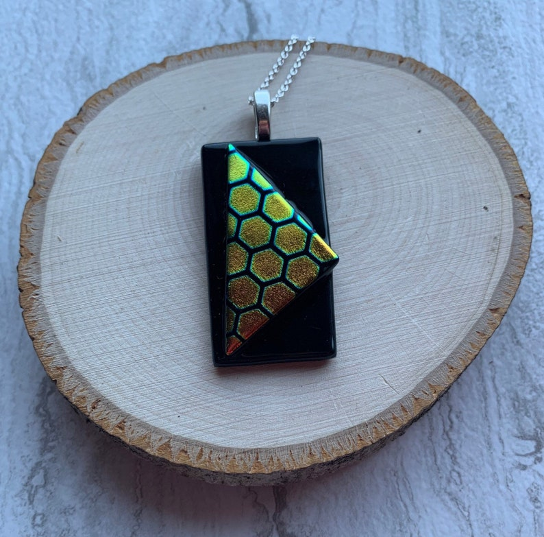 Gold and Green Honeycomb Dichroic Triangle on Rectangle Fused Glass Pendant
