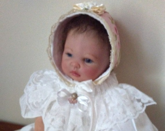 Reborn Doll DRESS With Bonnet and FREE Diaper Cover ~ Angel Sleeves ~ Size Newborn to 3 Months ~ Porcelain Cherub Button ~ FREE Ship