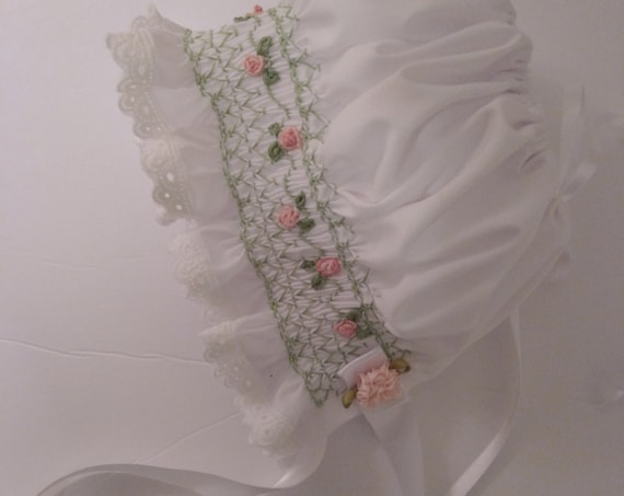 REBORN Babies Smocked White DOLL BONNET ~ Heirloom Style For Reborn Baby Doll ~ Pink Rose Vine and Trimmed with White Eyelet Lace Trim