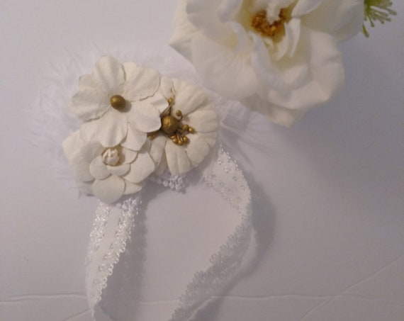 Rose HEADBAND for Reborn DOLL ~ Cream Roses With Gold Accents, Feathers and White Stretch Lace Headband
