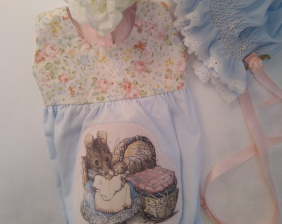 Light Blue Reborn Baby DOLL ROMPER ~ Beatrice Potter Mama Mouse & Baby Applique ~ Matching Smocked BONNETS With Faux Pearls and Rose Vine