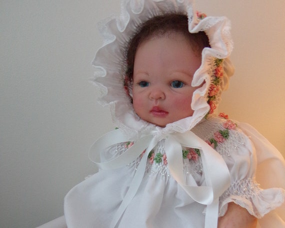 Smocked DRESS & BONNET For Reborn Doll ~ Size Newborn to 3 Months ~ Silk Ribbon Rose Vine Embroidery Faux Pearls and FREE Diaper Cover