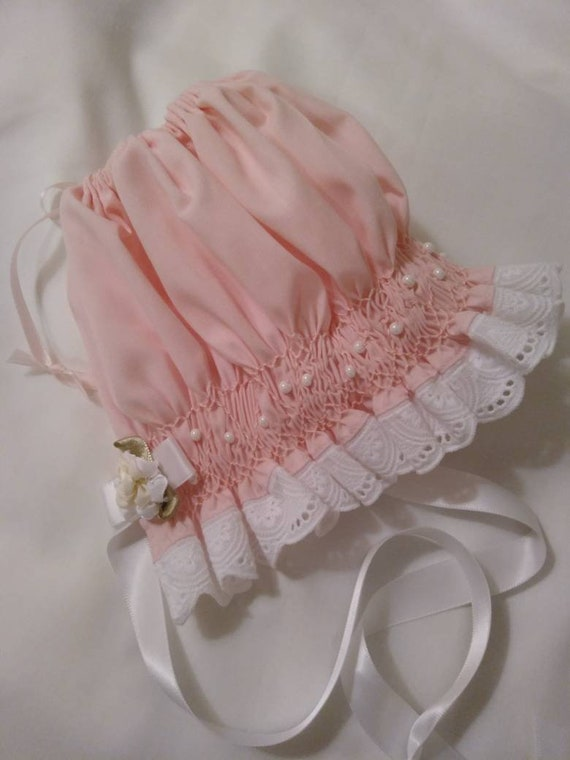 Pink REBORN Baby Doll BONNET ~ Newborn to 3 Months Size ~ Heirloom Style Pink Smocked Bonnet With Faux Pearls White Trim ~ Ready To Ship!