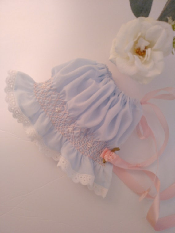 REBORN BABIES Doll Heirloom Style BONNETS ~ Soft Batiste Hand Smocked With Faux Pearls ~ Newborn to 3 Months Size ~ Rose Vine Smocked Bonnet