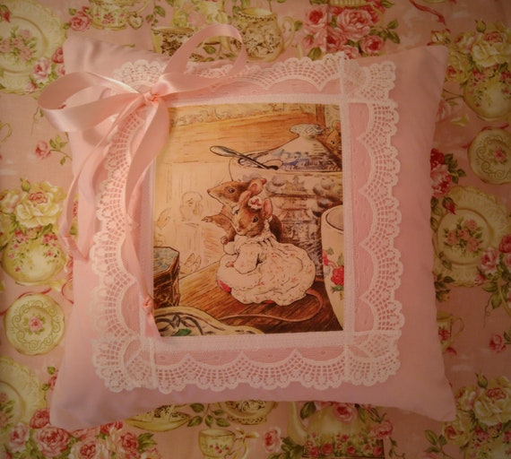 Reborn Babies DECORATIVE PILLOW 12x12  COVER for Reborn Doll Nursery ~ Great For Photo Prop ~ Beatrix Potter Adoring Mice ~ Ready To Ship!