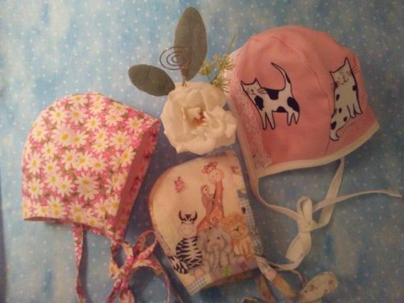 Reborn DOLL COIF BONNETS~ Newborn Size ~ Adorable Kittens Bonnet ~ Animal Friends Bonnet ~ Pink Daisy Bonnet ~ Ready To Ship!