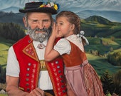 "Oil Painting ""The Secret"" by Jennifer Gehr, Art Print, Realistic Painting, Swiss Art, Appenzeller, Alpenchic, Mountains"