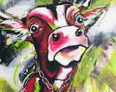 "Acrylic painting ""Cow 2"" by Jennifer Gehr, art print, alpenchic"