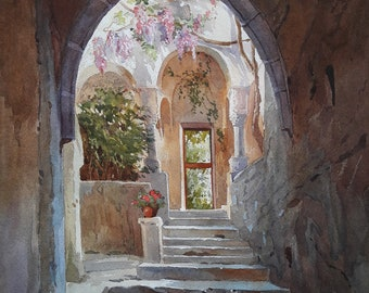 Italian architecture archway with little door to terrace. Italian architecture style. Architecture sketch. Original watercolor painting