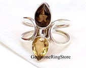 Citrine Ring, Smoky Quartz Ring, Gemstone Ring, Handmade Ring, Statement Ring, Boho Ring, 925 Silver Ring, Women Ring, Gift For Her