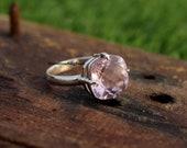Pink Quartz Ring, Sterling Ring, Statement Ring, Handmade Ring, Designer Ring, Bohemian Ring, Dainty Ring, Women Ring, Gif For Her