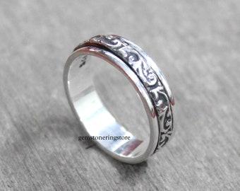 Gift For Her Rose Quartz Ring Anxiety Ring 925 Sterling Silver Texture Ring Meditation Ring Women Ring Fidget Ring Spinner Ring