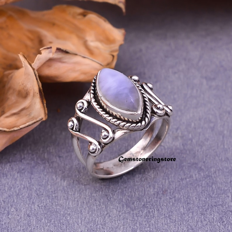 Moonstone Jewelry Gemstone Jewelry Boho Ring Natural Moonstone June Birthstone Moonstone Ring 925 Silver Ring Gift Her Dainty Ring