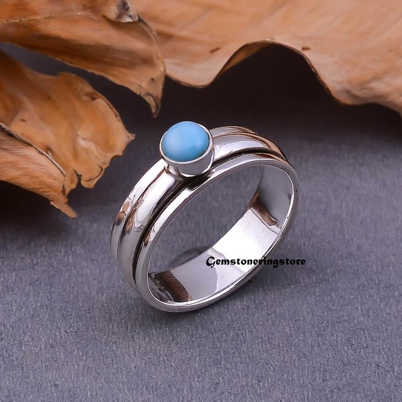 Meditation Ring Spinner Ring Thumb Ring Anxiety Ring 925 Silver Ring Anniversary Ring Vogue Jewellery Larimar Ring Bohemian Ring