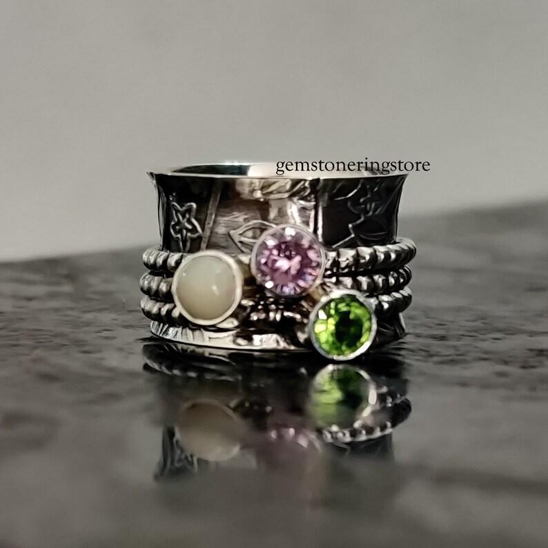 Peridot Ring Thumb Ring Bohemian Ring Gypsy Ring Spinner ring Rose Quartz Ring Natural Opal Ring Starling Silver ring Worry Ring