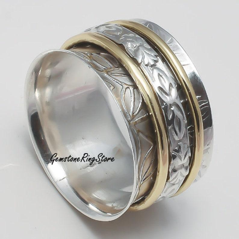 Boho Ring Spinner Ring 925 Silver Ring Worry Ring Meditation Ring Fidget Ring Anxiety Ring Gift For Her Women Ring Promise Ring