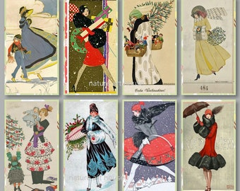 Digital download print Collage of Vintage Flappers Winter Fashion for your ephemera junk journal