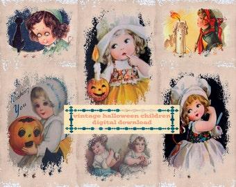 "Vintage Halloween Digital Ephemera Cards / 12 printable 3"" by 4"" pocket cards, gift tags / collage sheets, individual JPEGs, printable PDF"