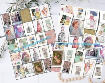 aesthetic photos vintage fashion kit collage digital prints instant Download wall decor scrapbook paper ephemera craft supplies