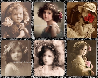 Vintage Digital download print Collage of Victorian Little Girls for your ephemera junk journal and Paper Crafts