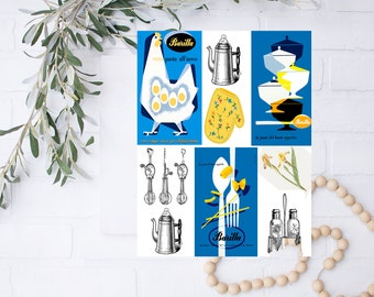 vintage digital download printable retro kitchen digital collage ,Nature Art House, digital download,printable papers