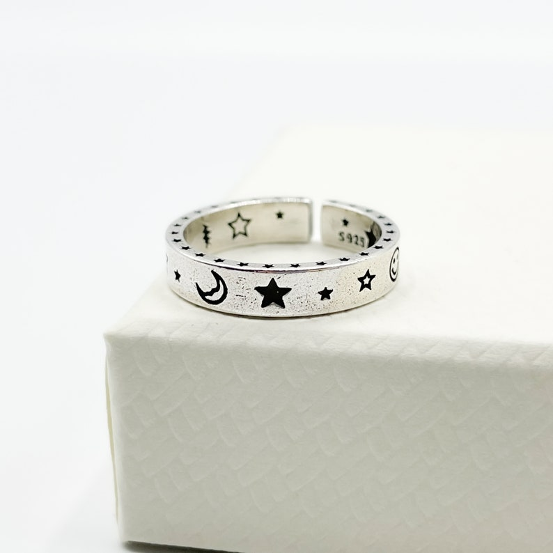 Celestial Band Ring Minimal Delicate Open Adjustable Ring Smile Face Thick Band Ring For Her Ring For Him Moon and Star Silver Ring