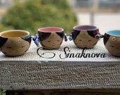 Set Of 4 Large Coffee Mug Pottery Soup Ceramic Bowl With Earring ,Terracotta And Enamel Bowl,Handcrafted Mug Bowl Tea Mug.