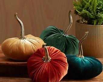 15 cm Handmade Velvet Pumpkins Deco