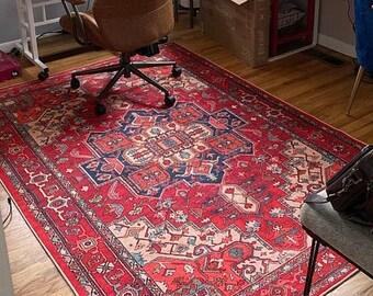 Handknotted rug Turkish decorative rug Vintage boho decor 4.6 ft x 8.3 ft  Oriental rug MB10124 Oushak rug Red area rug Bohemian rug