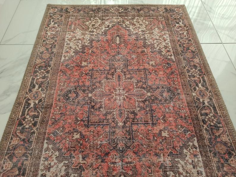 Medallion Heriz Design Luxury Oriental Rug Hariz Distressed Red Persian Pattern Antique look Runners Living room decor MINA