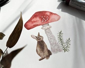 Mushroom Bunny Cottagecore Cute Meme Watercolor Painting Aesthetic Print Matte Glossy