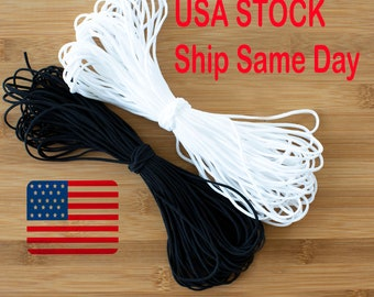 "50 YARDS 1//8/"" 3mm Soft  White Round Elastic Band Cord DIY USA stock Latex Free!"