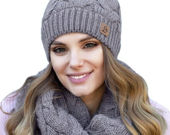 Result Chunky Knit Set Winter Essentials Hat Unisex Scarf One size POM Scarfe