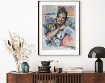 Original Signed Art, Original Watercolour, Watercolor Painting, Watercolour Portrait, Beautiful woman, Black woman, large Painting,